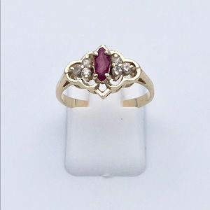Jewelry - 14k Yellow Gold Ruby & Diamond Ring Size 7.25
